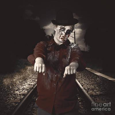 Stiff Photograph - Zombie Walking Undead Down Train Tracks by Jorgo Photography - Wall Art Gallery