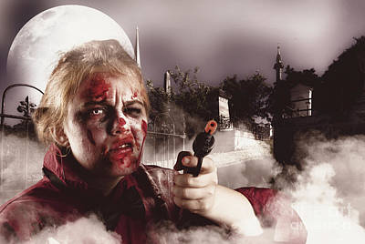 Grave Photograph - Zombie With Gun In Graveyard. Full Moon Nightmare by Jorgo Photography - Wall Art Gallery