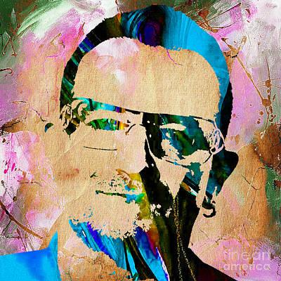 U2 Mixed Media - Bono U2 by Marvin Blaine