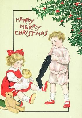 Christmas Greeting Painting - Christmas Card by English School