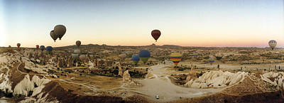 Enjoyment Photograph - Hot Air Balloons Over Landscape by Panoramic Images