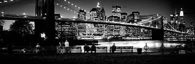Suspension Bridge Lit Up At Dusk Print by Panoramic Images