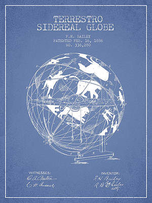 Earth Digital Art - Terrestro Sidereal Globe Patent Drawing From 1886 by Aged Pixel