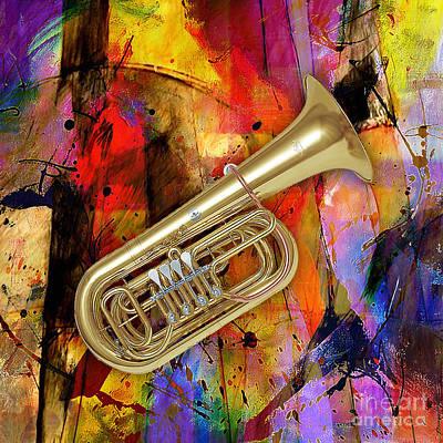 Tuba Mixed Media - Tuba by Marvin Blaine