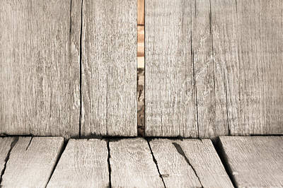 Old Plank Tables Photograph - Wood Background by Tom Gowanlock
