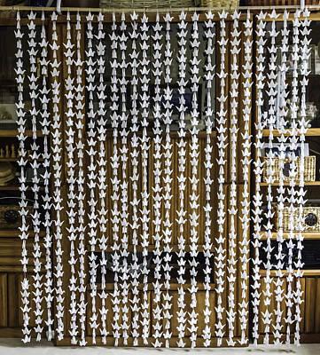Crane Mixed Media - 1000 Senbazuru White Crane Wall-window Hanging  4557 by Karen Celella
