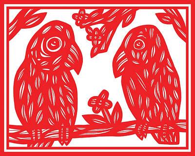 Cockatoo Drawing - Three Cockatoos Black And White by Eddie Alfaro