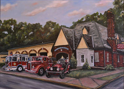 100th Anniversary Commemorative Painting Of The Reiffton Fire House Print by Karen Weber