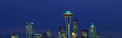 Seattle Skyline Photograph - Buildings In A City Lit Up At Night by Panoramic Images