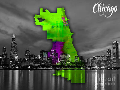 Map Mixed Media - Chicago Map And Skyline Watercolor by Marvin Blaine