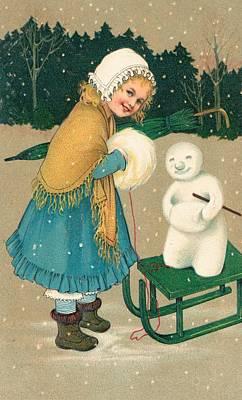 Muffler Painting - Christmas Card by English School
