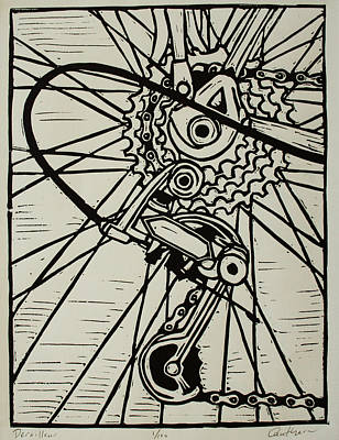 Lino Drawing - Derailluer by William Cauthern
