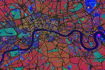 Great Digital Art - London England Street Map by Michael Tompsett