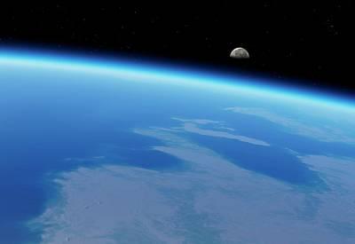 Moonrise Over Earth Print by Detlev Van Ravenswaay