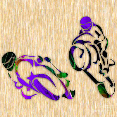 Racing Mixed Media - Motorcycle Racing by Marvin Blaine