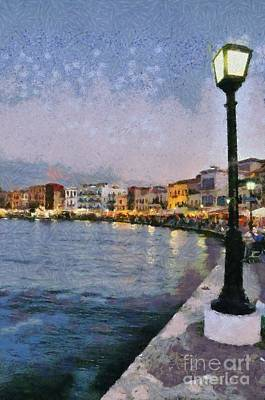 Tavern Painting - Painting Of The Old Port Of Chania by George Atsametakis
