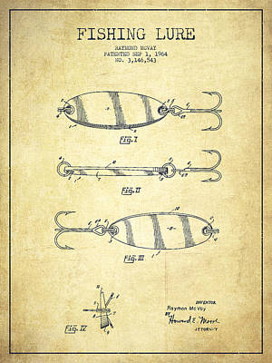 Antique Drawing - Vintage Fishing Lure Patent Drawing From 1964 by Aged Pixel