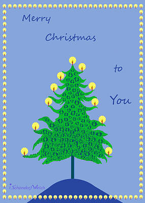 Christmas Cards Digital Art - 1158 - Christmas Tree by Irmgard Schoendorf Welch
