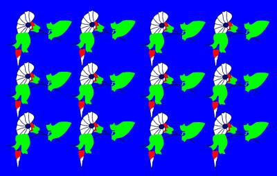 12 Bindweed Flowers On Blue Print by Asbjorn Lonvig