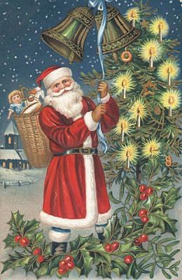 St. Nicholas Painting - Christmas Card by English School