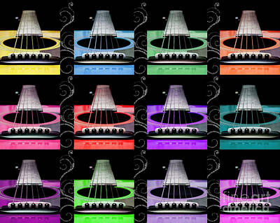 12 Color Guitars Print by Andee Design