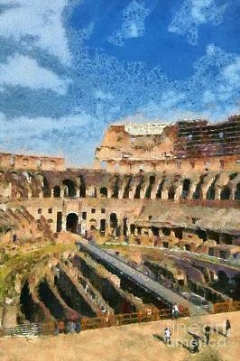 Center Painting - Colosseum In Rome by George Atsametakis