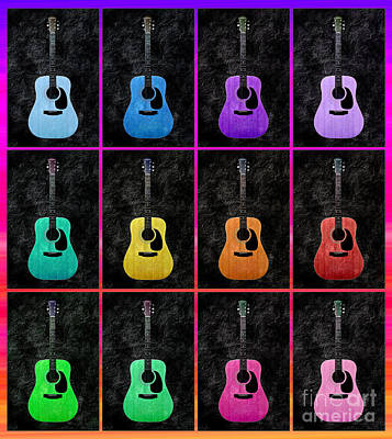 Orange Photograph - A Rainbow Of Guitars 3 by Andee Design