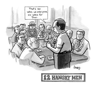 12 Hangry Men - Jury Room Print by Benjamin Schwartz