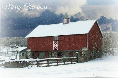 Red Barn In Winter Photograph - Merry Christmas by Lisa Hurylovich