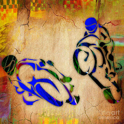 Cycles Mixed Media - Motorcycle Racing by Marvin Blaine
