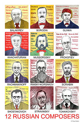 Russian Drawing - 12 Russian Composers by Paul Helm