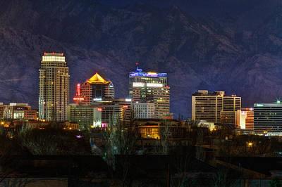 Snowy Night Photograph - Salt Lake City Utah by Utah Images