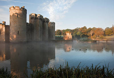 Stunning Moat And Castle In Autumn Fall Sunrise With Mist Over M Print by Matthew Gibson