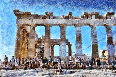 People Painting - Tourists In Acropolis Of Athens In Greece by George Atsametakis