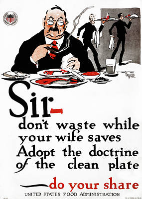 American Food Drawing - Wwi Poster, 1917 by Granger