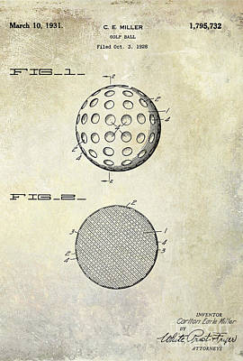 Iron Photograph - Golf Ball Patent Drawing by Jon Neidert