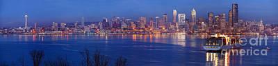 Seattle Skyline Photograph - 12th Man Seattle Skyline Reflection by Mike Reid