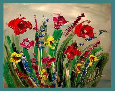 Old Man Fishing Painting - Flowers by Mark Kazav