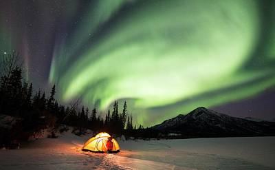 Aurora Borealis In Alaska Print by Chris Madeley