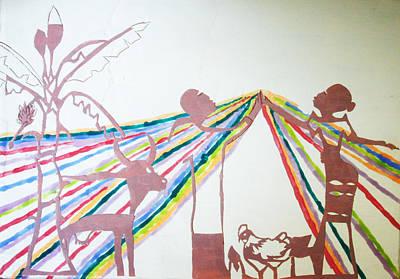 African Contemporary Ceramics Painting - Kintu And Nambi by Gloria Ssali