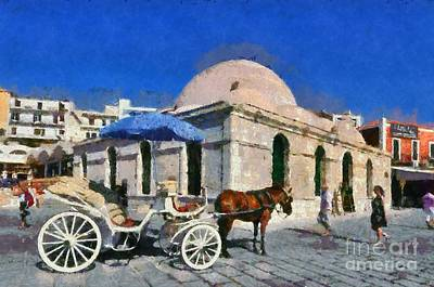 Carriage Painting - Painting Of The Old Port Of Chania by George Atsametakis