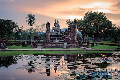 Water Lilly Photograph - Sukhothai Historical Park by Anek Suwannaphoom