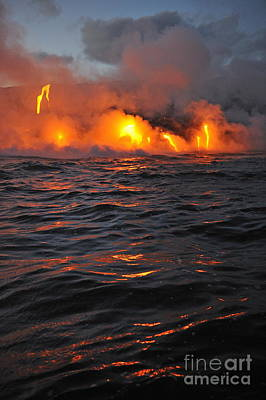 Steam Rising Off Lava Flowing Into Ocean Print by Sami Sarkis
