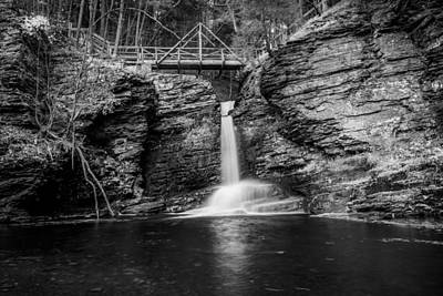 Waterfalls George W Childs National Park Painted Bw   Print by Rich Franco