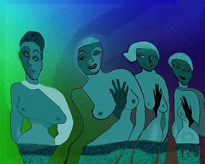 Twilight Zone Painting - 154 -  Blue Green Ladies   by Irmgard Schoendorf Welch