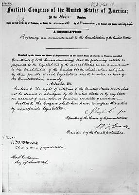 Resolution Painting - 15th Amendment, 1868 by Granger