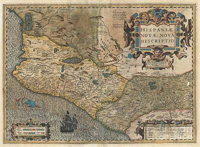1606 Hondius And Mercator Map Of Mexico Print by Paul Fearn