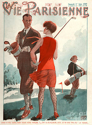 Golf Drawing - 1920s France La Vie Parisienne Magazine by The Advertising Archives