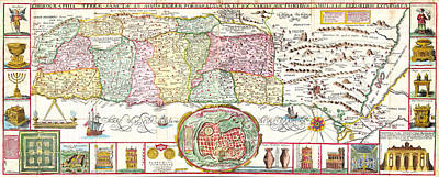 1632 Tirinus Map Of The Holy Land Israel W Numerous Insetsgeographicus Holyland Tirinus 1632 Print by MotionAge Designs