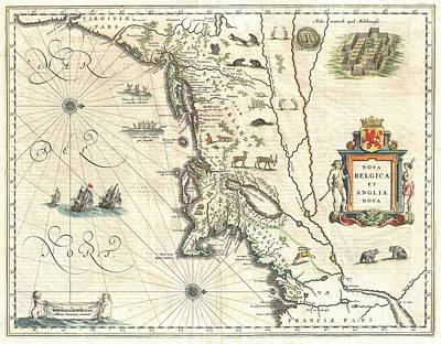 1635 Blaeu Map Of New England And New York Print by Paul Fearn